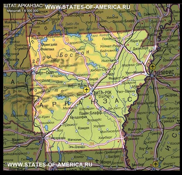 карта Арканзаса