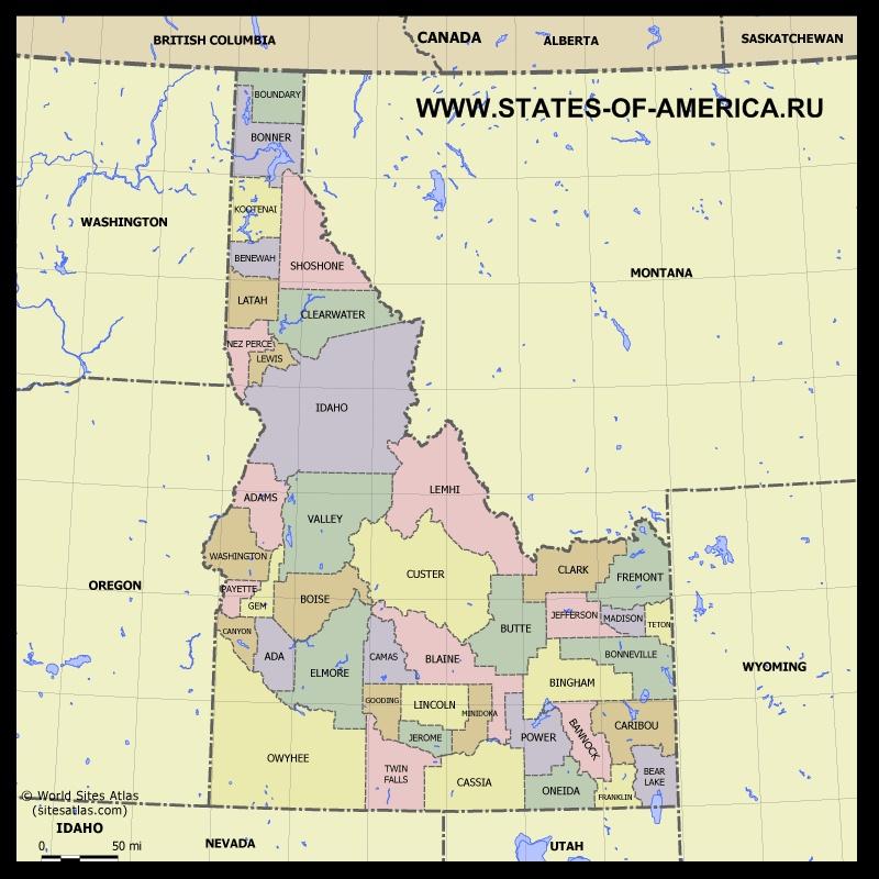 Карта Айдахо по округам