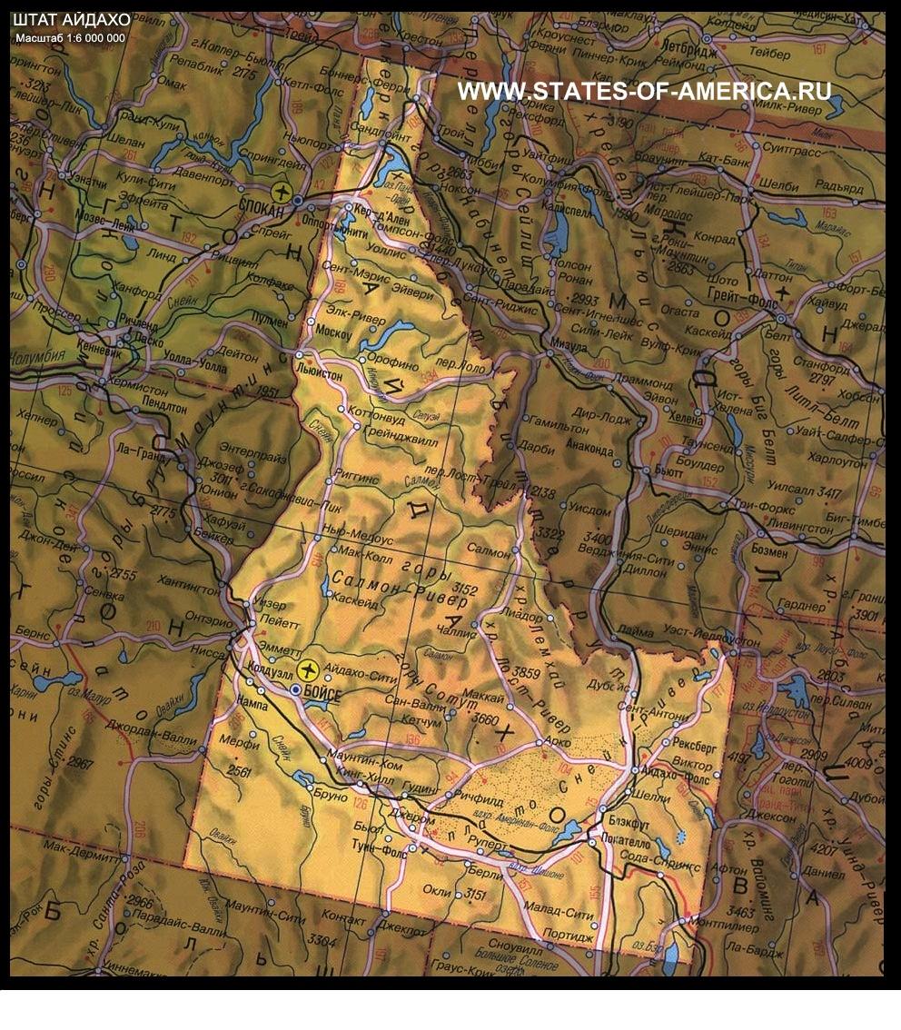 Физическая карта Айдахо