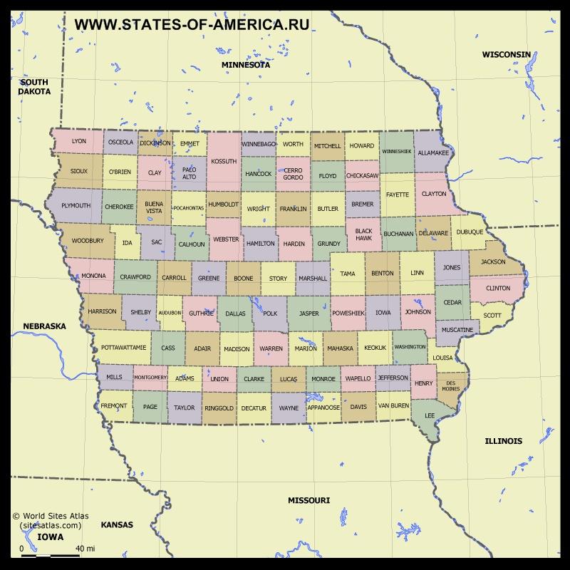 Карта Айовы по округам