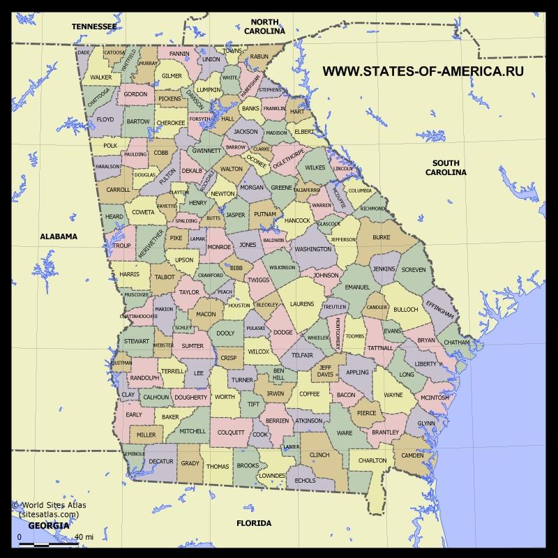 Карта Джорджии по округам