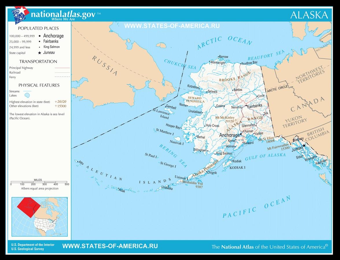 Карта дорог Аляски