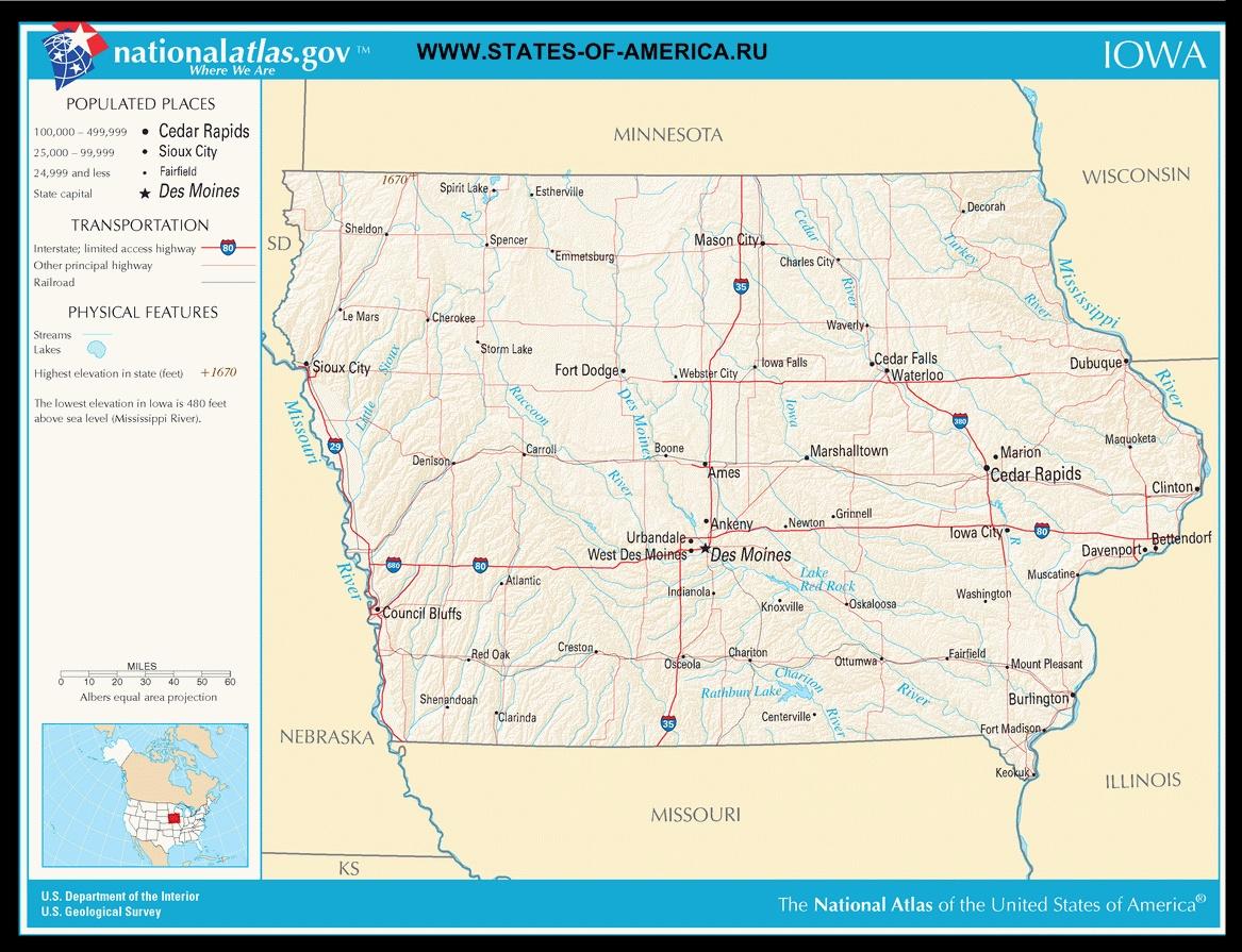 Карта дорог Айовы