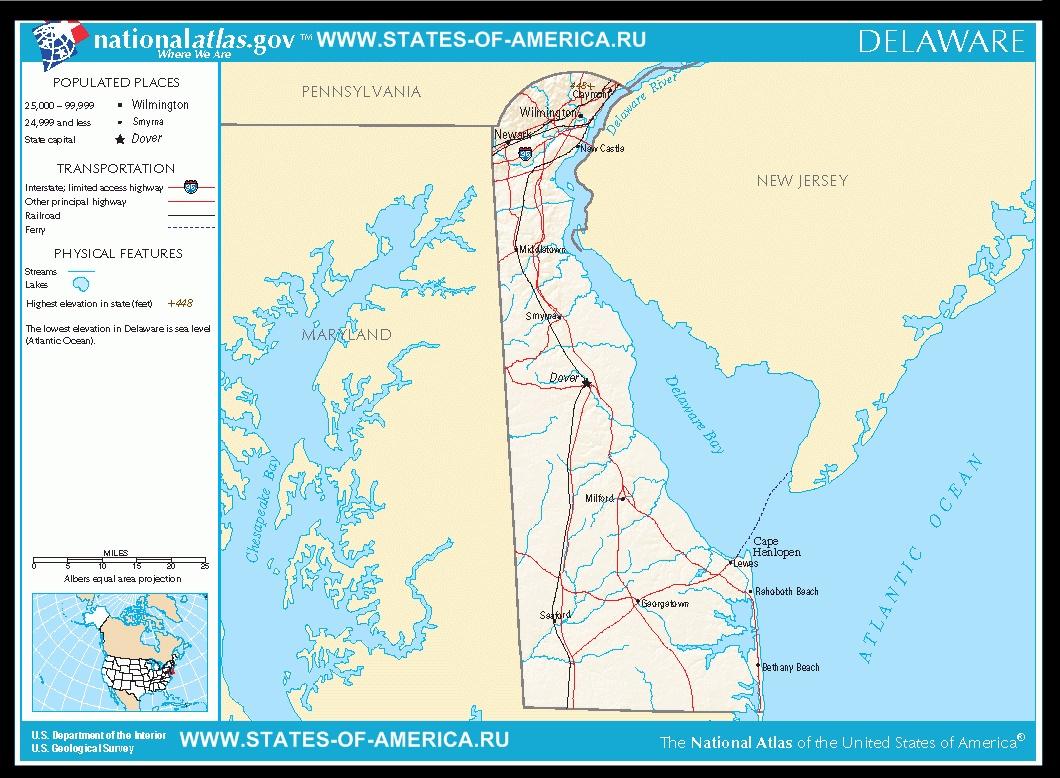 Карта дорог Делавера