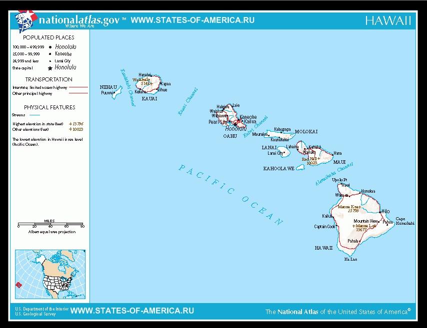 Карта дорог штата Гавайи