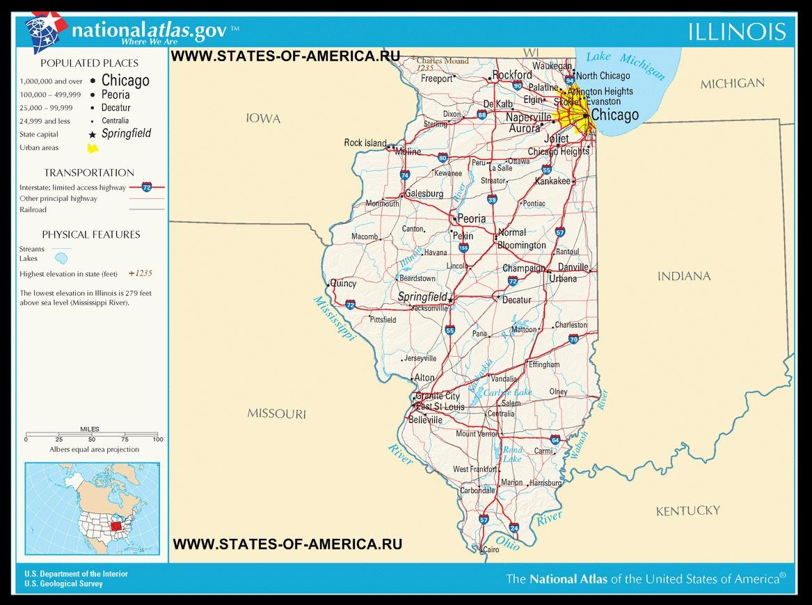Карта дорог Иллинойса