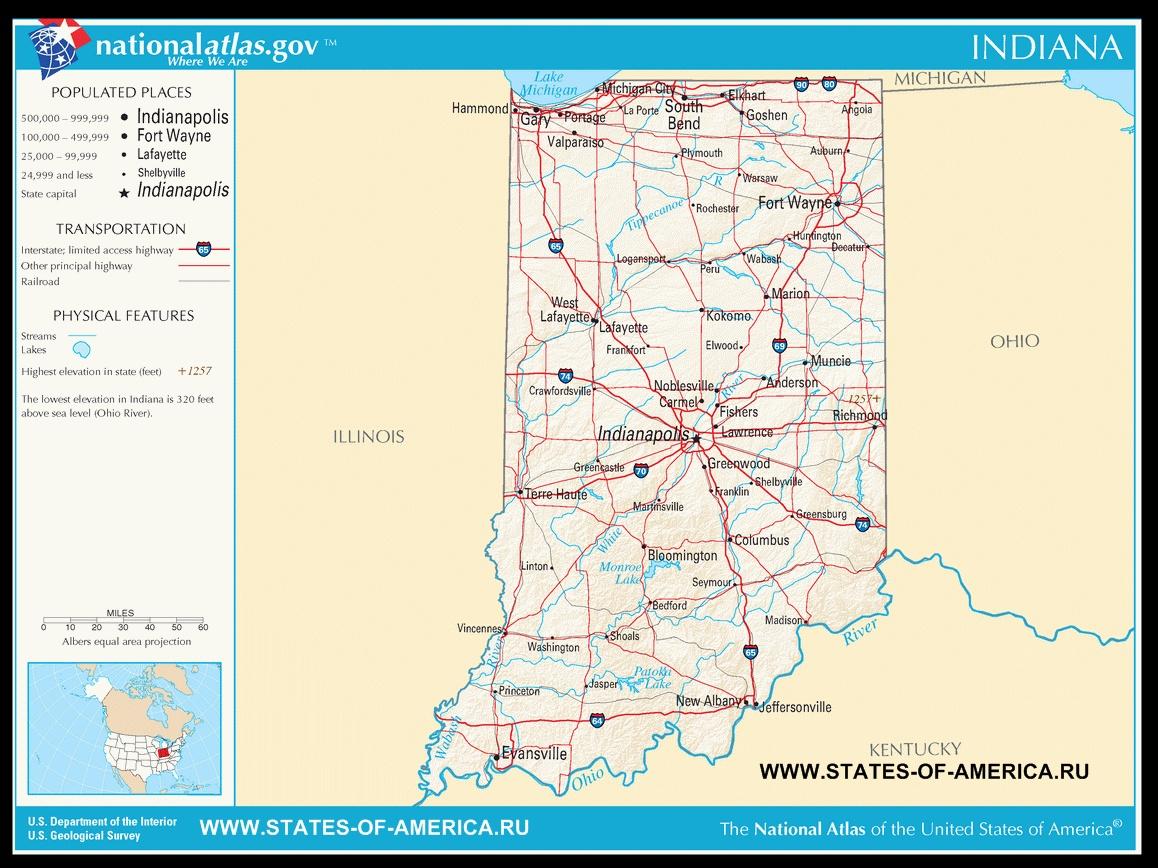 Карта дорог Индианы