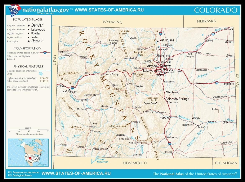 Карта дорог Колорадо