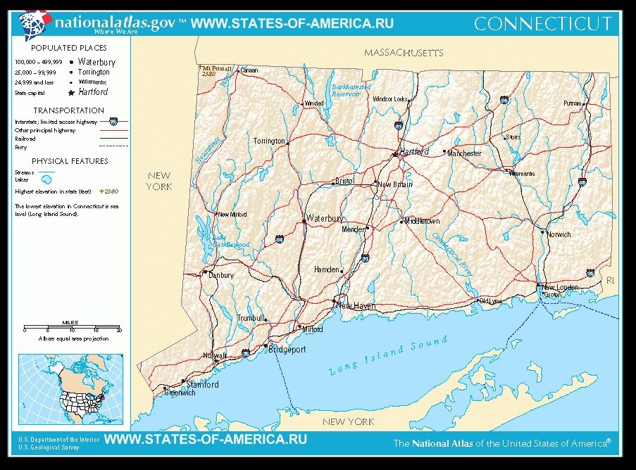 Карта дорог Коннектикута