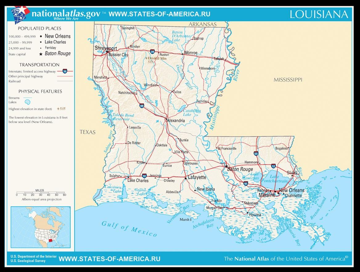 Карта дорог Луизианы
