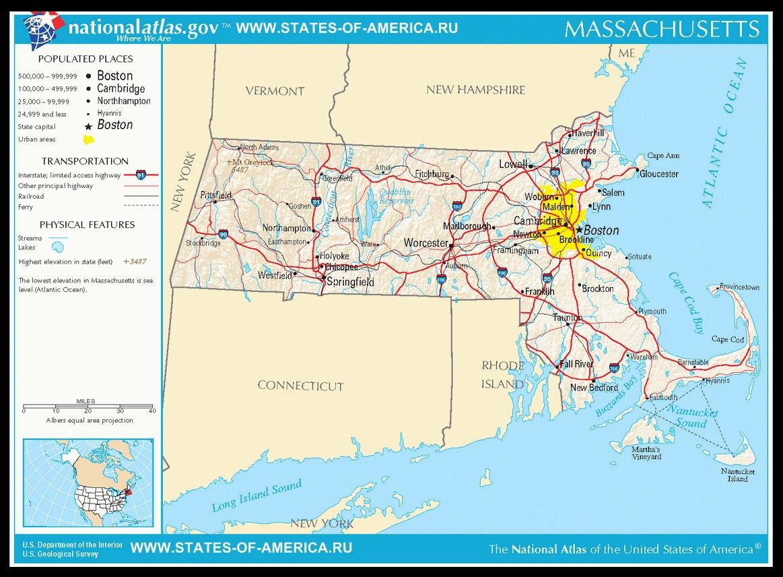 Карта дорог Массачусетса