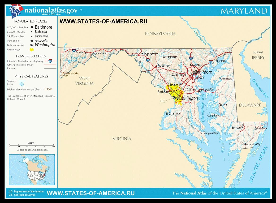 Карта дорог Мэриленда