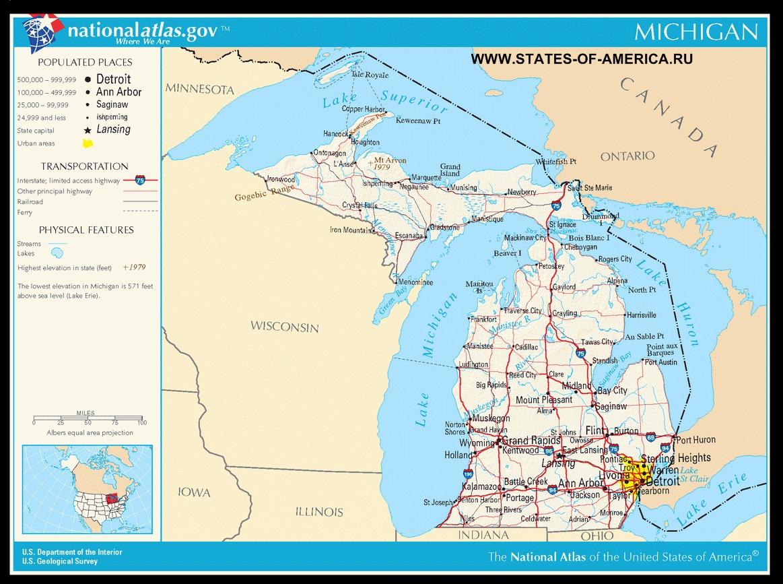 Карта дорог Мичигана