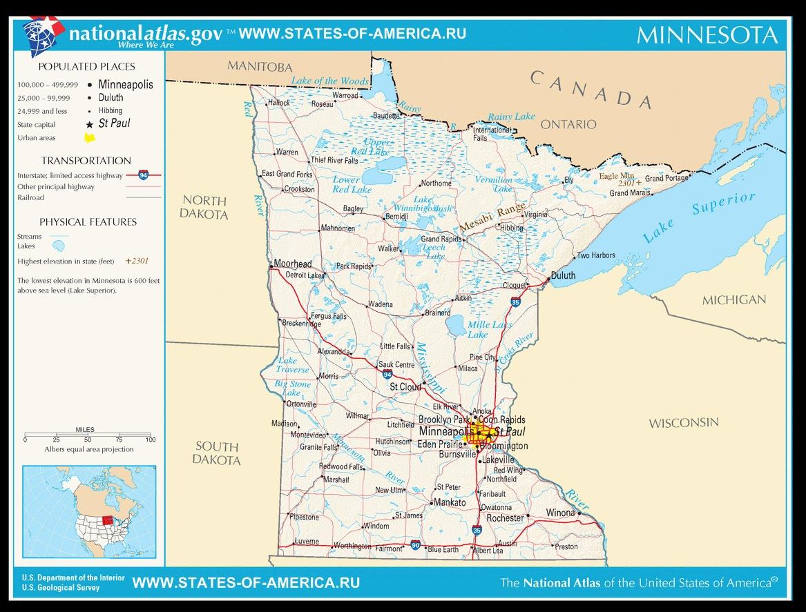 Карта дорог Миннесоты
