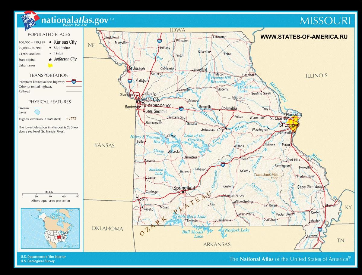 Карта дорог Миссури