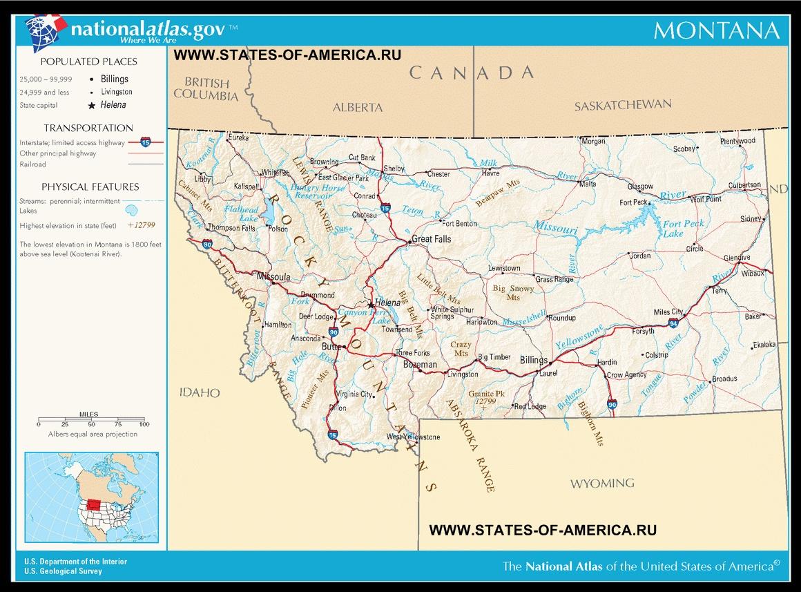 Karta Shtata Montana