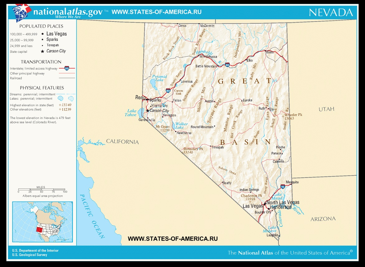 Карта дорог Невады