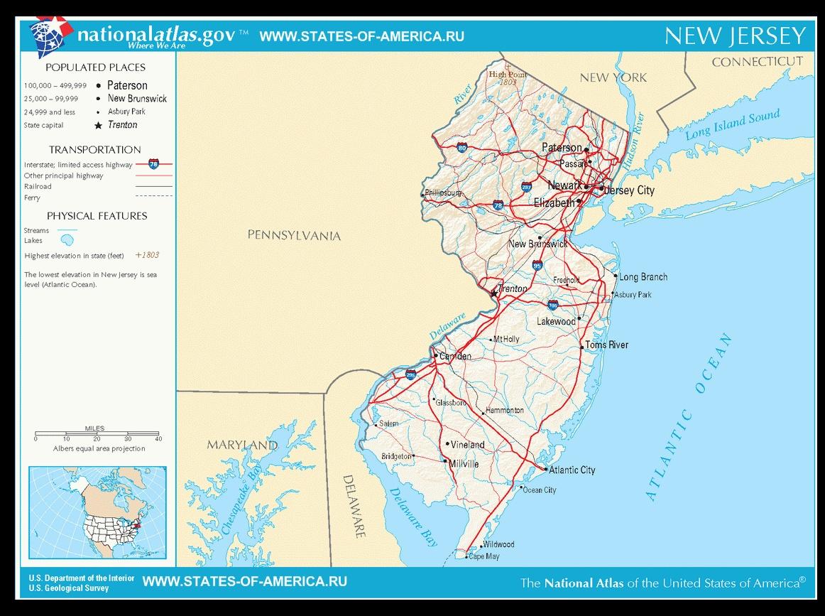 Карта дорог Нью-Джерси
