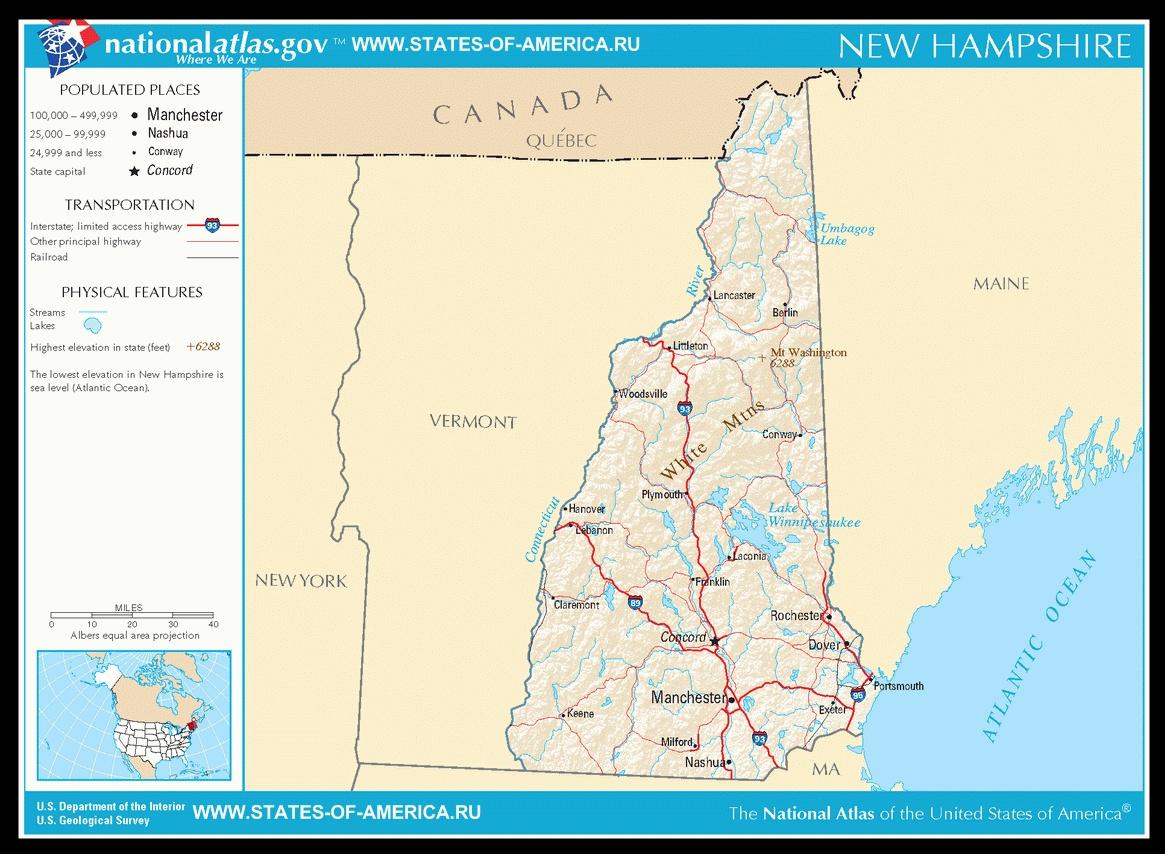 Карта дорог Нью-Гемпшира