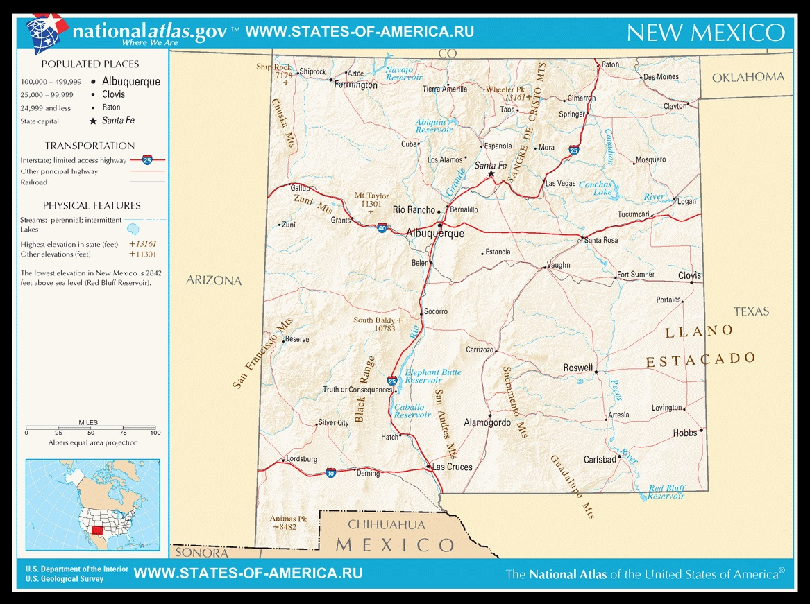 Карта дорог Нью-Мексико