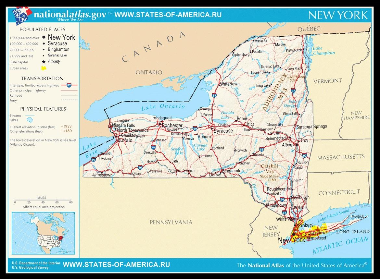 Карта дорог штата Нью-Йорк