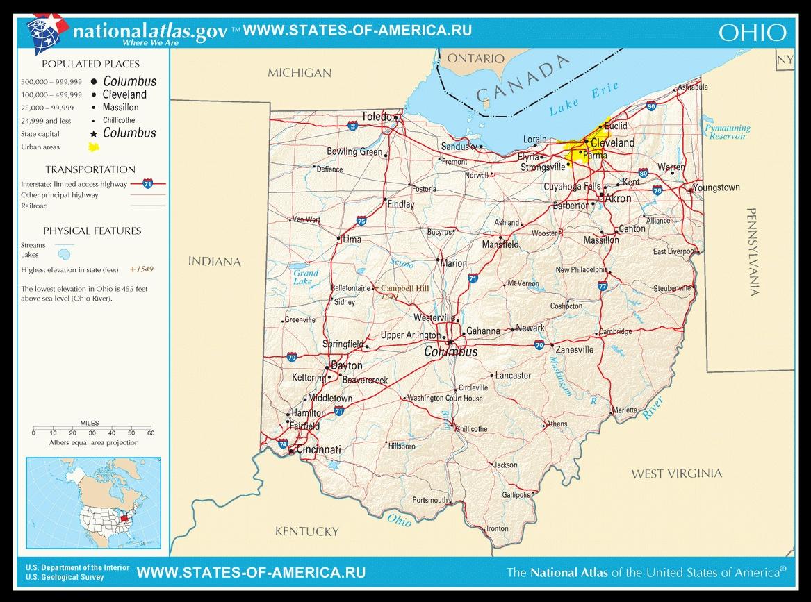 Карта дорог Огайо
