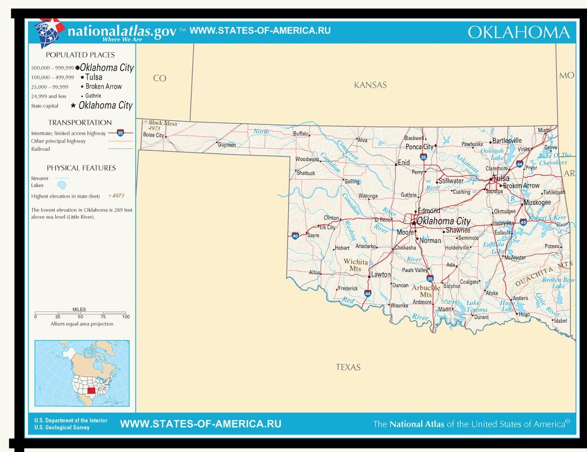 Карта дорог Оклахомы
