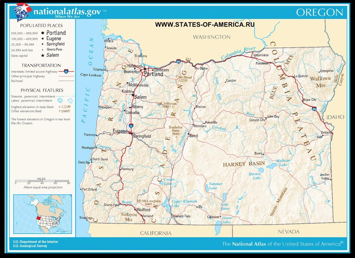 Карта дорог Орегона