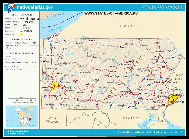 Карта дорог Пенсильвании