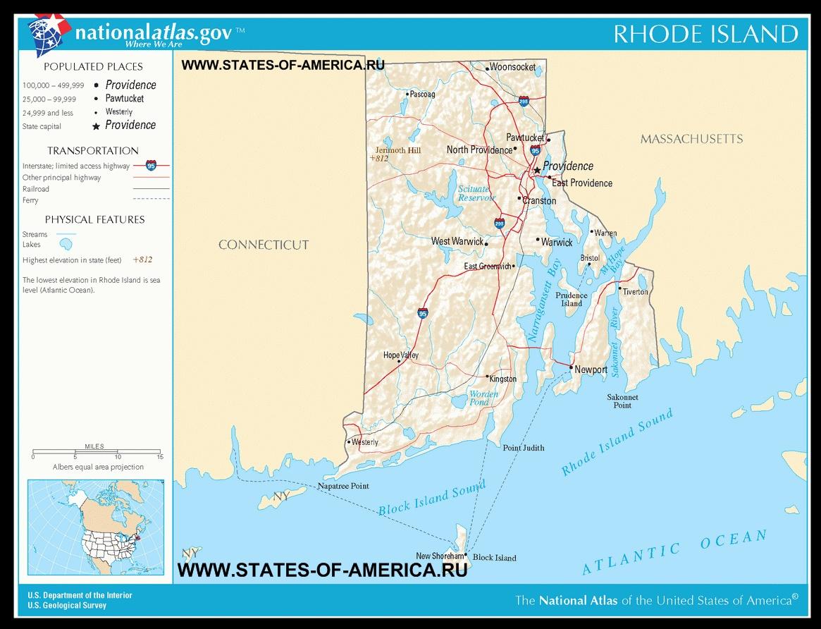 Карта дорог Род-Айленда