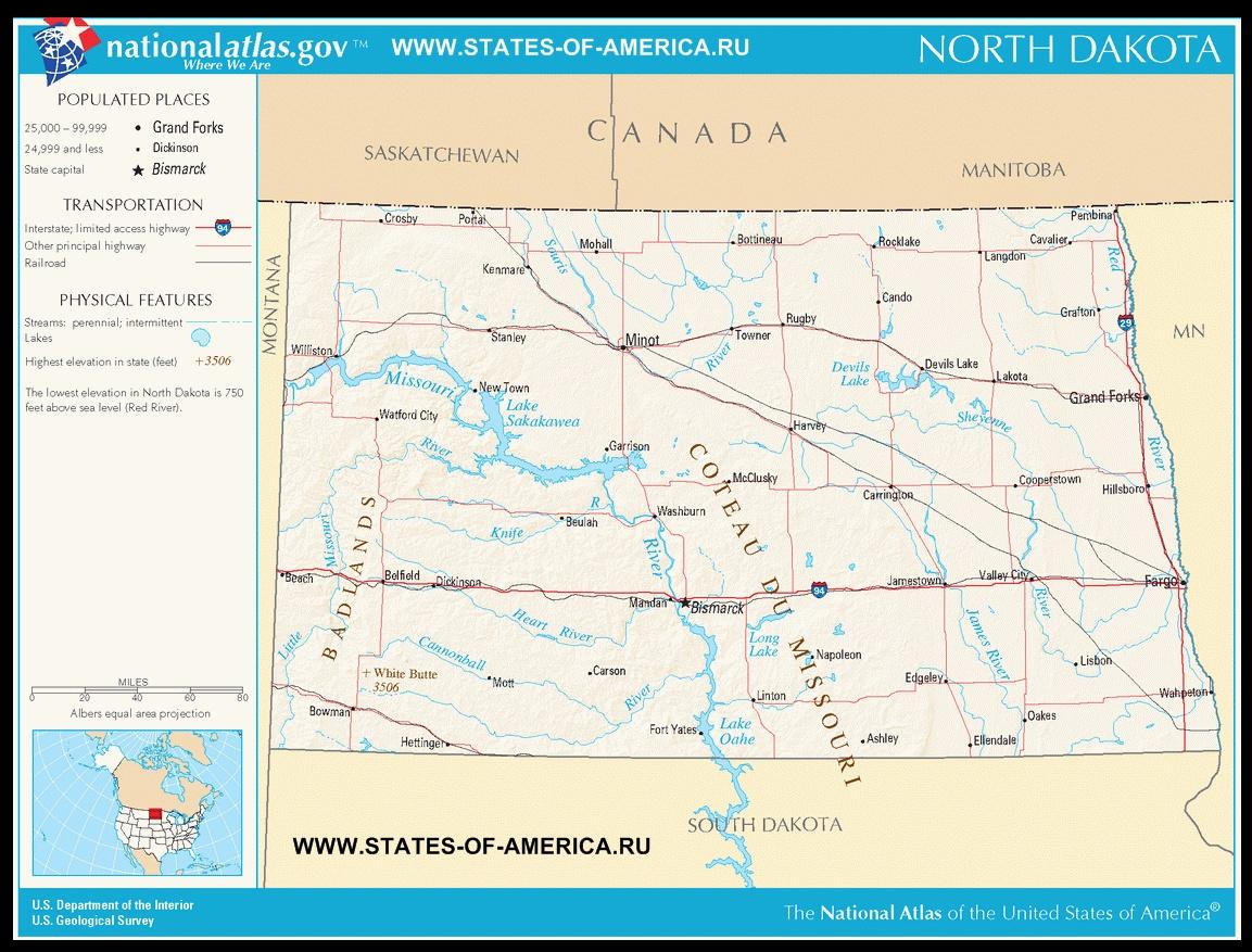 Карта дорог Cеверной Дакоты