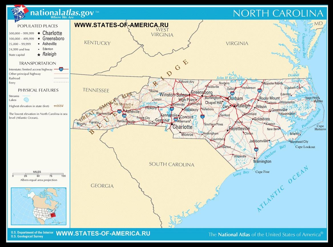 Карта дорог Северной Каролины