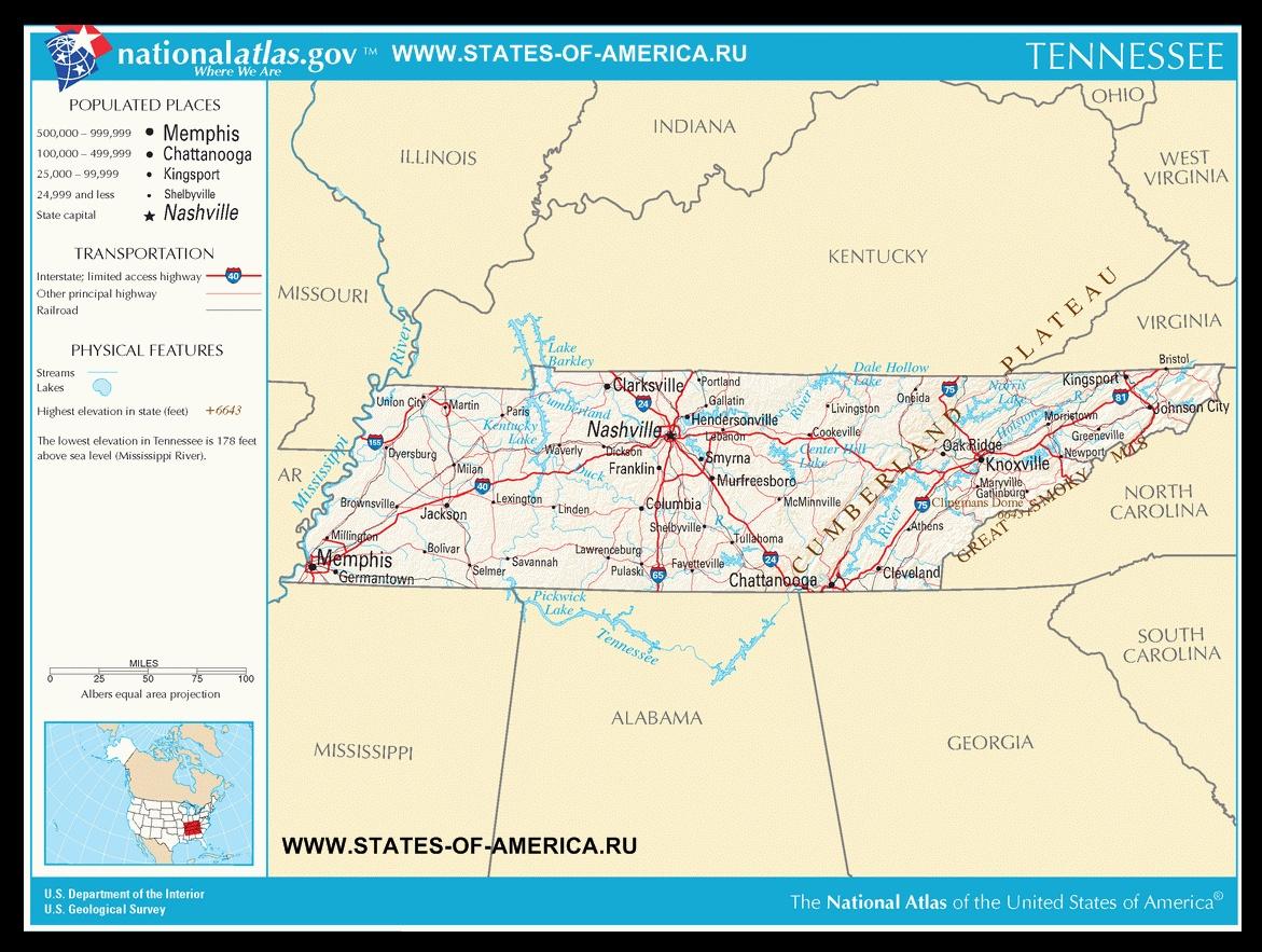 Карта дорог Теннесси