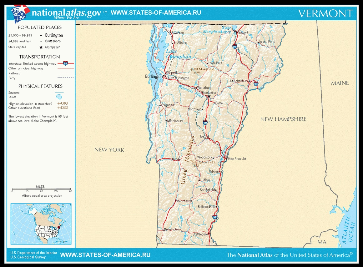Карта дорог Вермонта
