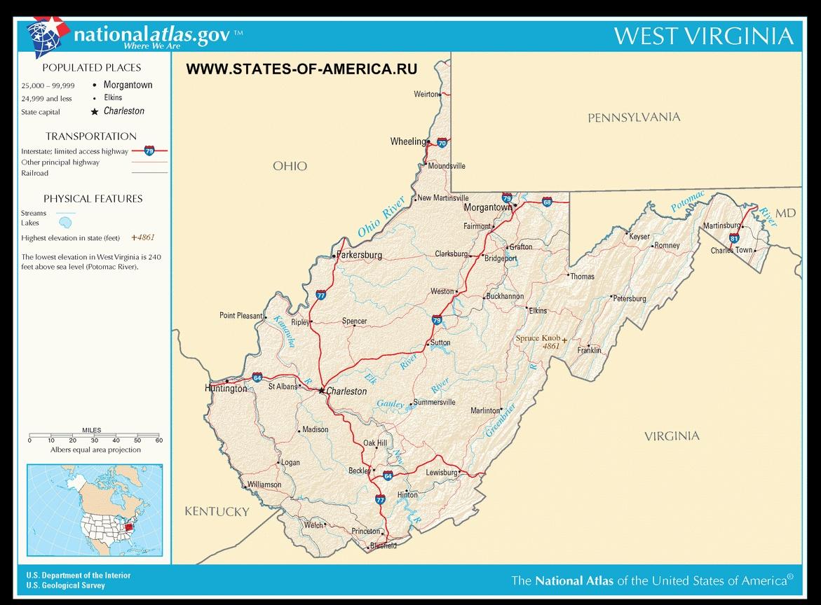 Карта дорог Западной Вирджинии