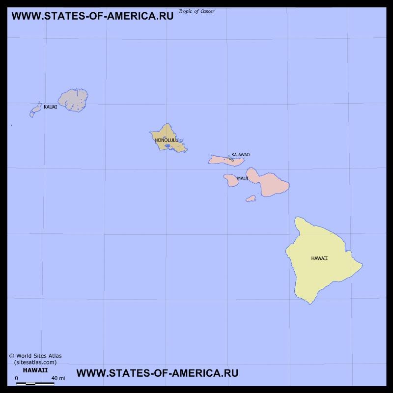 Карта штата Гавайи по округам