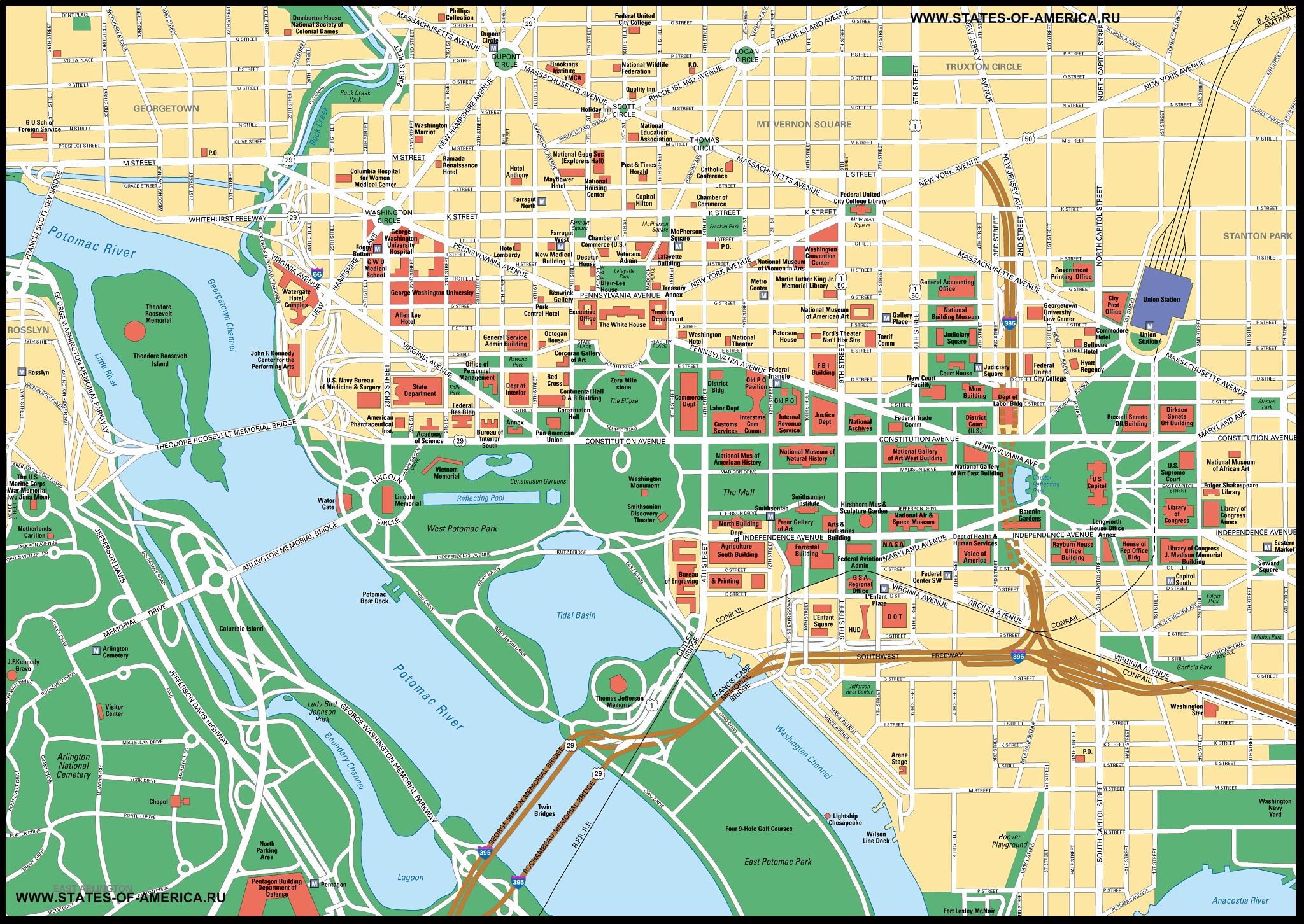 Подробная карта города Вашингтона на английском языке