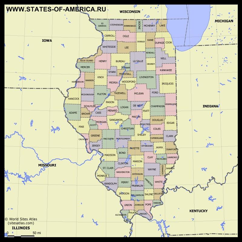 Карта Иллинойса по округам