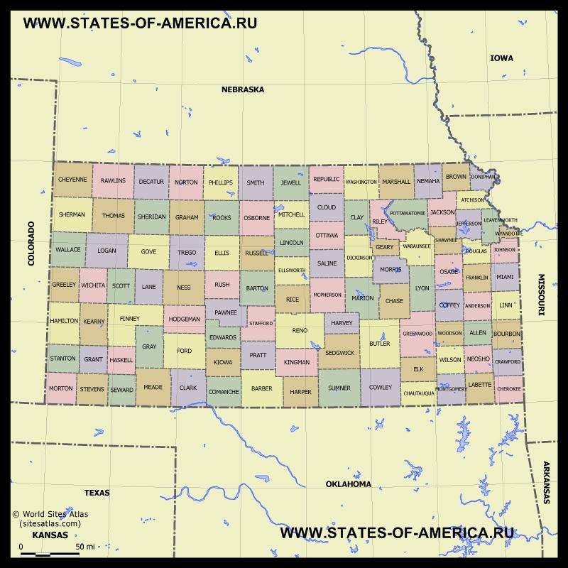 Карта Канзаса по округам