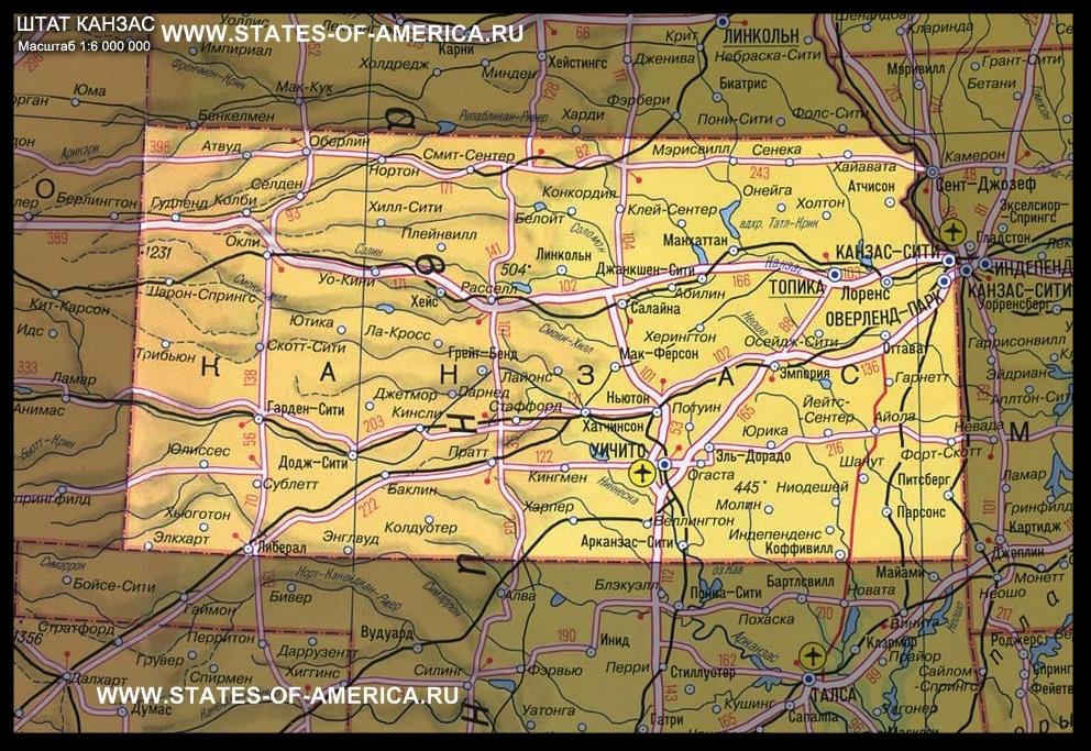 карта Канзаса