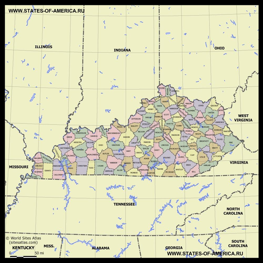 Карта Кентукки по округам