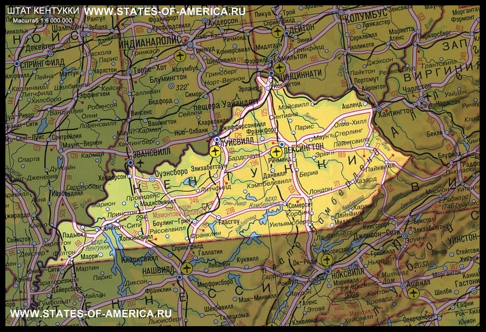 карта Кентукки