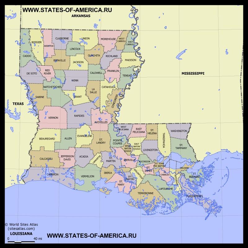 Карта Луизианы по округам