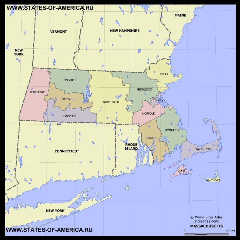 Карта Массачусетса по округам