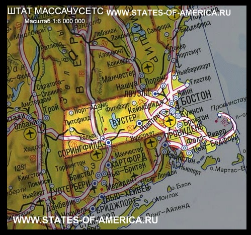 карта Массачусетса