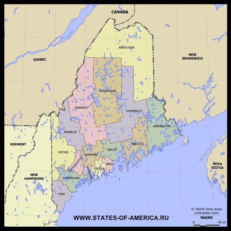 Карта Мэна(Мена) по округам