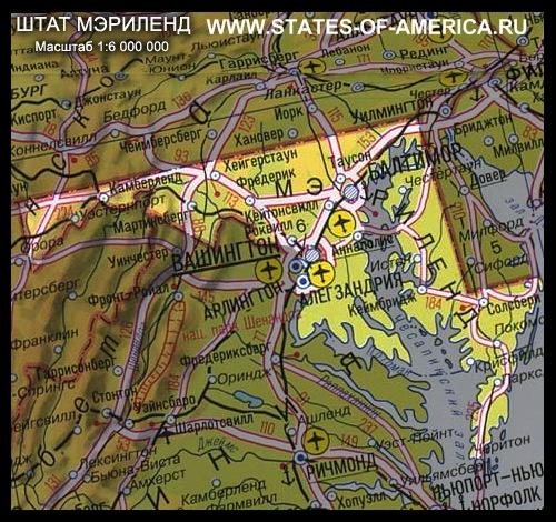карта Мэриленда