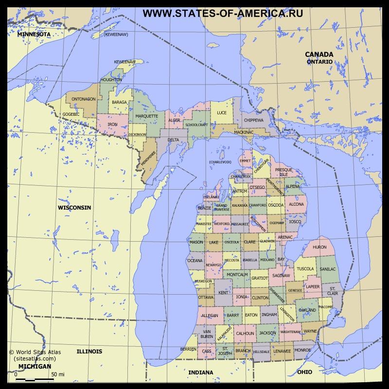 Карта Мичигана по округам