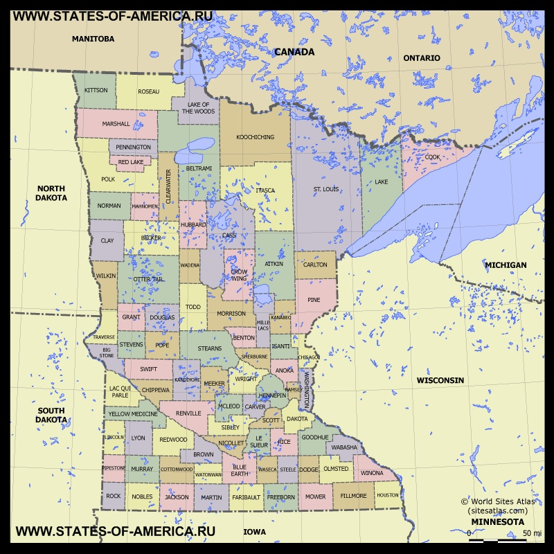 Карта Миннесоты по округам