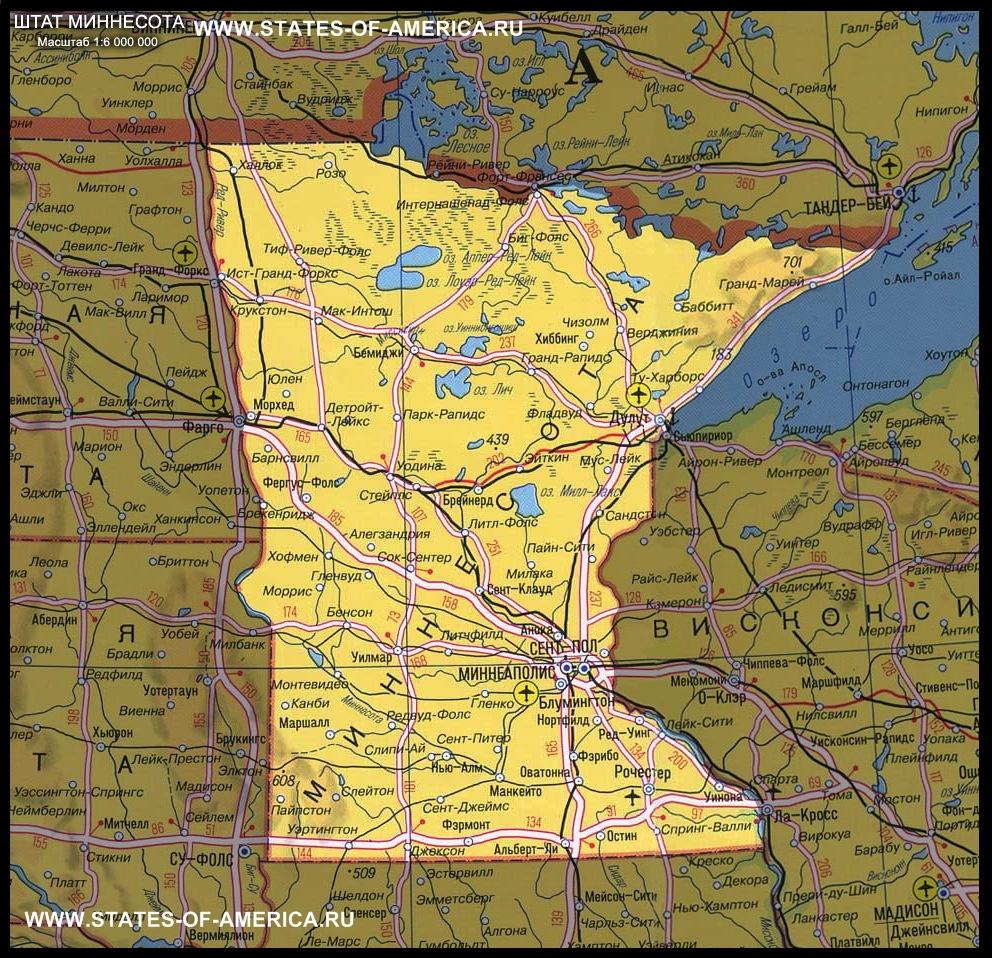 карта Миннесоты
